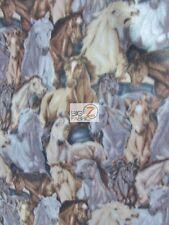 "HORSE PRINT POLAR FLEECE FABRIC - Horse Stampede - 60"" WIDTH SOLD BTY - 873"