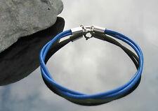 Doble Correa Azul el cordón de cuero Pulsera Con Plata Esterlina 925 Broche