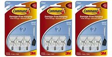 3m Command Utensil Clear Wire Hooks & Strips Damage Free Holds 225g 3 x 3 Hooks