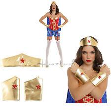 WONDER WOMAN Super Hero ADULT Gold Crown Headpiece Tiara & Arm Gauntlets Cuffs