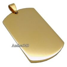 Men's Boy's Gold Dog Tag 316L Stainless Steel Pendant Chain Necklace