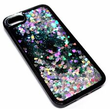 For iPhone 7 PLUS - Silver Hearts Glitter Liquid Waterfall Quicksand Black Case