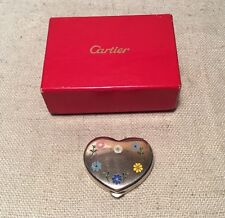 Cartier Vintage Authentic Sterling Silver Floral Enamel Heart Pill Box