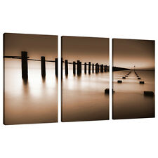 Ensemble de trois partie Marron Sépia Canvas wall art photos tirages XXL 3088