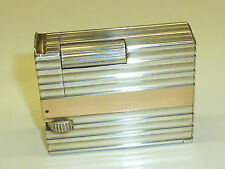 LEADER PARIS SOLID SILVER LIFTARM LIGHTER W. GOLD STRIPES - ARGENT -1930 -FRANCE