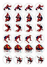 24 SPIDERMAN WAFER RICE EDIBLE FAIRY/CUP CAKE BUN TOPPERS