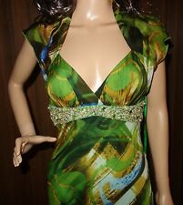 Nina Austin Queen Anne Neckline Beaded Waist Multi Print Silk  Flare Dress SZ S