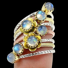 Two Tone - Rainbow Moonstone 925 Sterling Silver Ring Jewelry SR217190