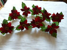 9 Red Velvet poinsettia heads with holly spray wiired stem Christmas decorations