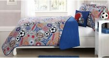 SPORTS EXPRESS Full QUILT SET : BOY TEEN FOOTBALL SOCCER BASKETBALL GRAY VARSITY