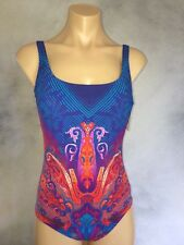 GOTTEX Blue Red Shangrila One-Piece Tank Style Swimsuit Womens Sz 10 New