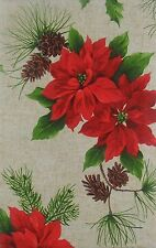 "Christmas Poinsettias and Pine Cones vinyl flannel back tablecloth 52"" x 70"""