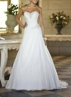 White/Ivory chiffon Sweetheart Wedding Gown Bridal Dress Size 6+8+10+12+14+16