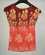 Calancattle Pleats Please Sleeveless Blouse Top Floral Pink Ivory L Japan