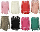 Ladies 2 in 1 italian long sleeve crochet top tunic lace mesh