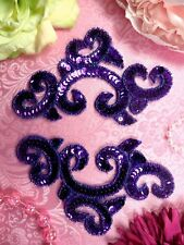 "0242 Purple Appliques Mirror Pair Sequin Beaded 6""  Sewing Crafts Motifs"