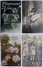 Lot de 4 cartes postales anciennes Amitié.