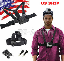 Harness Head + Chest Strap Mount Accessories For GoPro 1 2 3 4 Session Camera