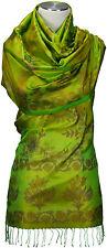 Seidenschal gewebt Handarbeit 100% Seide silk Grün scarf stole Green hand made