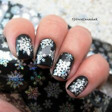 1Pc Christmas Snowflake Holographic Foils Nail Art Decals Sticker Manicure Paper