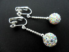 A PAIR OF DANGLY WHITE SHAMBALLA STYLE  CLIP ON   EARRINGS.