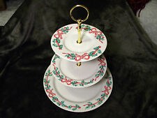 INTERNATIONAL CHINA CHRISTMAS RIBBONS 3-TIER CAKE STAND, VERY UNIQUE