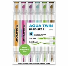 MOLOTOW GRAFX AQUA TWIN - 6 PIECE TWIN TIP, WATER BASED MARKER SET - BASIC SET 2