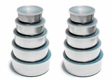 Set/2-5Pc Stainless Steel Mixing/Storage Container Bowl Set w/ Plastic Lids