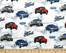 Ford Motor Company Fords Truck Trucks on White Cotton Fabric Print D667.06