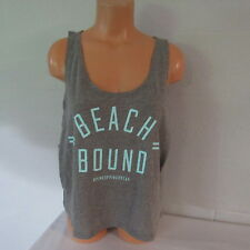 Victoria's Secret PINK Cotton Poly Low Armhole Graphic Crop Tank Top Gray L NWOT