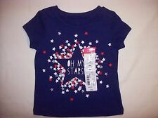 NEW Okie Dokie 9 Month Baby Girl OH MY STARS T-Shirt~Red/White/Blue~4th of July