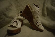 NEW Women Size 8.5 Mudd Festival White Cork High Platform Wedge Shoes $54.99
