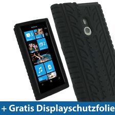 Schwarz Silikon Tasche für Nokia Lumia 800 Windows Skin Hülle