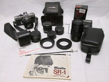 Minolta SR-1 Body w/ Minolta & Vivitar Lenses and Flash w/ Cases & More!