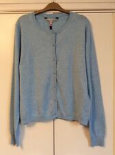 Crew Clothing Co crystal pale blue fine knit cotton cardigan w/ cashmere Size 16
