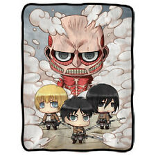 "ATTACK ON TITAN 60"" Chibi Characters FLEECE BLANKET Eren Mikasa Armin Colossal"