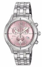 CITIZEN FA0020-54X WOMEN'S STAINLESS STEEL PINK DIAL CHRONOGRAPH WATCH NEW!