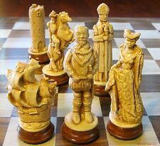 "SPANISH ARMADA CHESS MEN - SHIPS AS PAWNS - HISTORIC FIGURE SET - K=4½"" (631)"