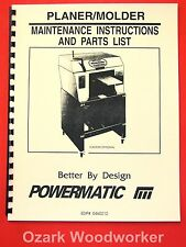 POWERMATIC Belsaw Planer-Molder Maintenance Instructions and Parts Manual 1082