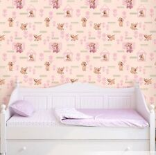 vinyl Wallpaper wall covering pink dogs nursery kids room double rolls textured