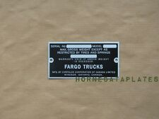 FARGO TRUCKS WINDSOR CANADA DATA PLATE 1933 1934 1935 1936 1937 1938 1939 ID TA