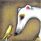 LIMITED EDITION MOUNTED GREYHOUND DOG & CANARY PAINTING PRINT BY SUZANNE LE GOOD
