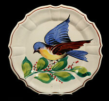 Vintage Italian Ceramic Plate Hand Painted Collectible Numbered Blue Bird Dishes