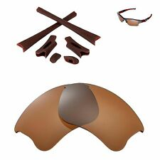 New WL Polarized Brown Lenses And Brown Rubber Kit For Oakley Flak Jacket XLJ