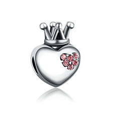 Heart Crown CZ European Charms Bead Fit Silver Bracelet&Necklace Chain