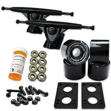 """LONGBOARD Skateboard TRUCKS COMBO set w/ 70mm BLACK WHEELS + 9.675"""" Black trucks"""