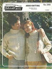 VINTAGE KNITTING PATTERN  ARAN JUMPER (E) FOR WOMEN & MEN