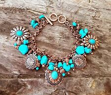 COWGIRL BLING CONCHO COPPER TONE  CHARM TURQUOISE SOUTHWESTERN BRACELET