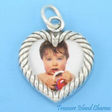 DOUBLE-SIDED HEART PICTURE PHOTO FRAME .925 Solid Sterling Silver Charm Pendant