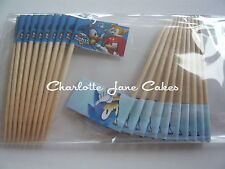 20 CUPCAKE FLAGS/TOPPERS - SONIC THE HEDGEHOG CHILDRENS BIRTHDAY PARTY